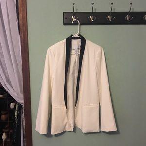 White tuxedo jacket with black trim